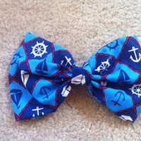 Navy and Light Blue Nautical Hair Bow by twentyfifthandgrey