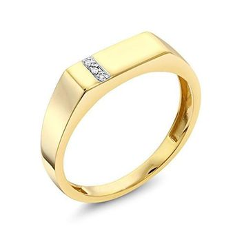 CERTIFIED 0.08 carats 10K Solid Yellow Gold White Diamond Wedding Anniversary Ring