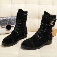 DCCK LV Louis Vuitton Fashion Pointed Toe Leather High Boot Heels Shoes