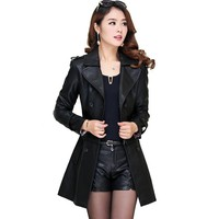 Leather Jacket Women's Sheepskin Coat Female Leather Removable Women Long Trench Leather Jacket With Fur Collar LC0087