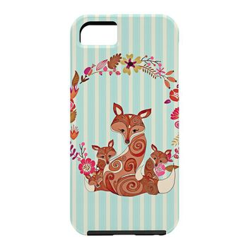 Monika Strigel Fox And Flowers And Blue Stripes Cell Phone Case