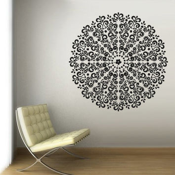 Wall Decal Vinyl  Mural Sticker Art Decor Bedroom Yoga Kitchen Ceiling Mandala Menhdi Flower Pattern Ornament Om Indian Hindu Buddha (z2886)