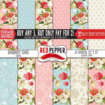 Shabby Chic Roses - Digital Paper - Instant Download - Ideal For Scrapbooking and Background Supplies