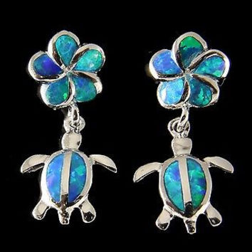 INLAY OPAL SILVER 925 HAWAIIAN PLUMERIA DANGLE HONU TURTLE POST EARRINGS