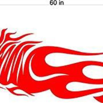 Tiger Panther Animal Flames Motor Cross Street Track Motorcycle Racing Trailer Decals Stickers Mural One Color 2 Graphics AF01