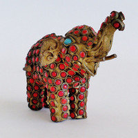 Brass and Cabochon Elephant Figurine