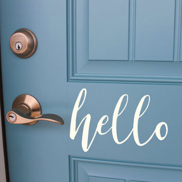 Hello Vinyl Door Decal, Front Door Decal, Office Door Decal, Door Decor, Custom Vinyl Decal, White Matte Vinyl Door Decal, 5x8