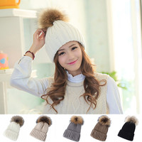 Hot Promotion Vogue Women Lady Winter Warm Fur Wool  Ball Knitted Crochet Baggy Hat Casual Female Candy Color Beanie Ski Cap