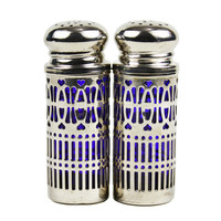 Salt & Pepper Shakers, Pierced Silver Filigree Shell, Cobalt Glass Insert