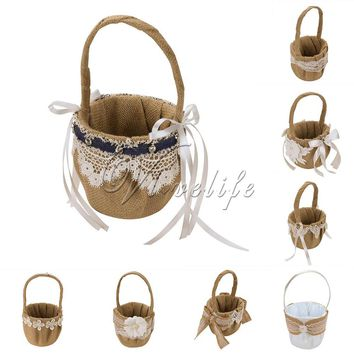 14cm x 23cm Retro Jute Burlap Lace Wedding Flower Basket Flower Girl Basket for Wedding Decoration Storage Basket Hanging Basket