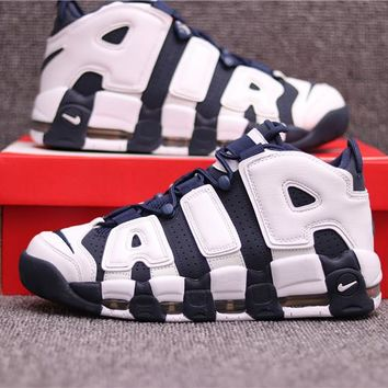"Nike Air More Uptempo ""AIR"" Navy/White Basketball Shoe 36--45"