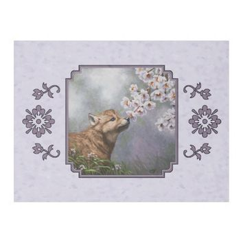 Wolf Pup and Flowers Fleece Blanket
