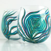 Peacock Feather Stemless Wine Glass--Single Hand Painted Glass
