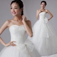 Popular sweet princess bride wedding dress with bow women 2015 wedding dresses = 1929529668