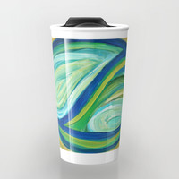 Yin & Yang | Abstract Oil Painting Travel Mug by mariameesterart