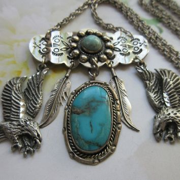 Vintage Bohemian Charm Necklace with Sterling Native American Charms