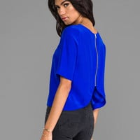 Amanda Uprichard Martina Zip Back Top in Royal