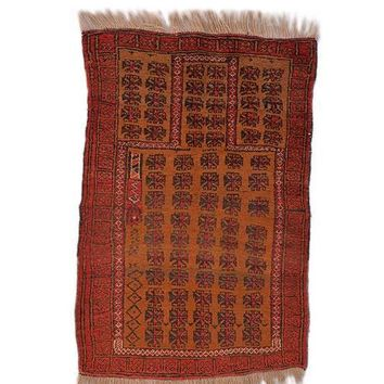 """Antique Afghan Area Rug Hand Knotted Wool Rug 2' 10"""" X 4' 3"""""""
