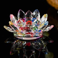 Handmade Crystal Lotus Flower Candle Holders 7 Colors Candlestick Glass Candle Stand For Table Centerpieces Home Decor