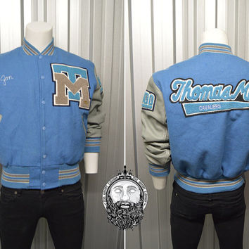 Vintage 90s St Thomas More Letterman Jacket Leather Sleeves Bomber Jacket Baseball Jacket Sportswear Wool Coat Varsity American Football