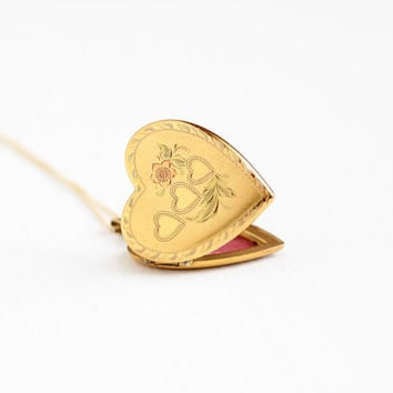 Vintage Yellow Rose & Green Gold Filled Heart Locket Necklace - Late Art Deco 1940s Sweetheart Flower Romantic Photograph Pendant Jewelry