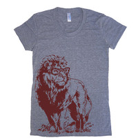 Womens Lion Professor T Shirt - American Apparel Tshirt - S M L XL (20 Color Options)