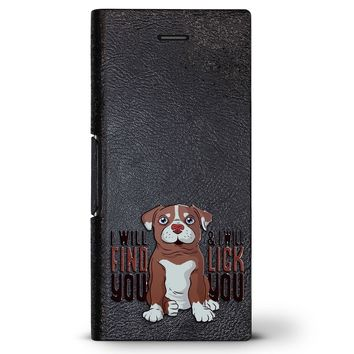 I Will Find You Dog Quote | Leather Series case for iPhone 8/7/6/6s in Hickory Black