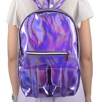 Simplicity Funky Holographic Backpack w/ Front Pockets and Adjustable Straps