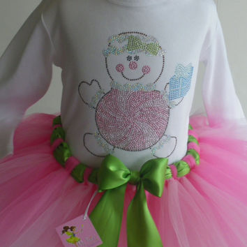 3T/4T Pastel Christmas Gingerbread girl rhinestone t-shirt & pink tutu dress