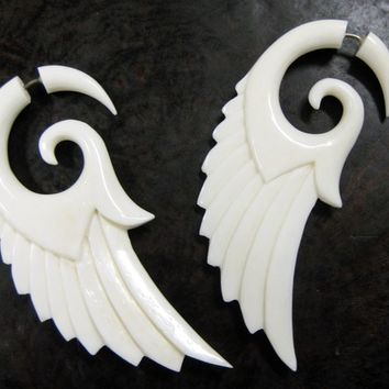 SALE  Angel Wings  Fake Gauges  Large Bone by TribalStyle on Etsy
