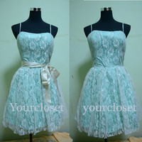 Cute green handmade prom dress, party dress, bridesmaid dress