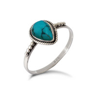 Water Drop Turquoise Silver Ring