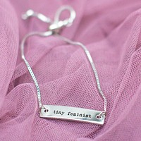 Tiny Feminist Silver Bar Adjustable Bracelet