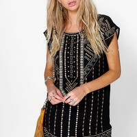 Boutique Ruth Embroidered Beaded Shift Dress
