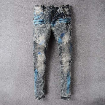 French Style 8808Mens Distressed Embellished Ribbed Stretch Moto Pants Biker Jeans Slim Trousers Size 28 42