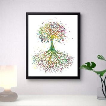 Nordic Canvas Colorful Tree Plant Nordic Wall Art Modern Home Decor Module Living Room Kid Bedroom Nordic Home Decor Poster