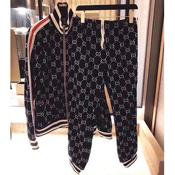 "Hot Sale ""GUCCI"" Classic Popular Women Casual Long Sleeve Cardigan Jacket Coat Pants Trousers Set Two-Piece Black(White Letter)"