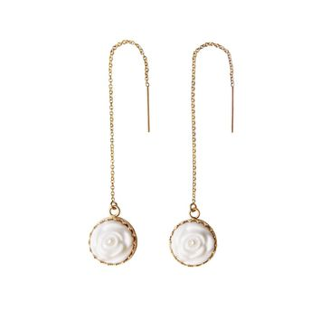 Porcelain Rose With Pearl Gold-Filled Chain Earrings