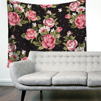 """Floral Dreams"" Tropical Flowers Wall Tapestry"