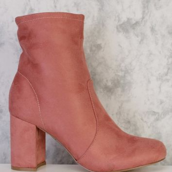 Blush Round Closed Pointy Toe Single Sole Chunky Heel Booties Faux Suede