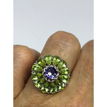 Start Your Holiday Shopping!!! Vintage Handmade Genuine Green Peridot and blue Iolite 925 Sterling Silver Gothic Flower Ring