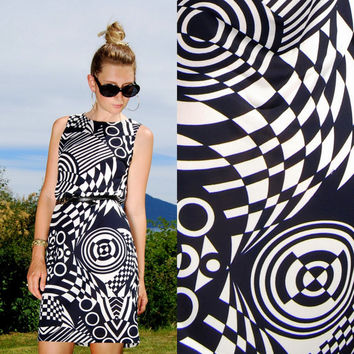 60s Mod Dress Psychedelic Dress White and Navy Checkered Bullseye Geometric Color Block Dress Hostess Shift Dress Abstract Print Blue White