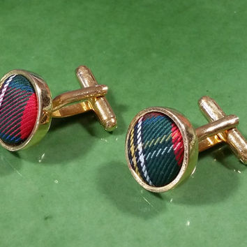 Plaid Colorful Cufflinks Multi Color Fabric Gold Tone Metal Swank Cufflinks Mens Accessories Red Blue Green White Plus More Round Cufflinks