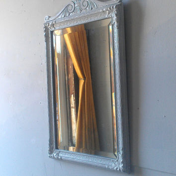 Large Antique Mirror in Carved Wood and Gesso Frame, Chic Distressed White Beveled Glass Wall Mirror
