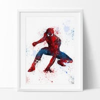 Spiderman Art Print, Watercolor Art, Superhero Wall Art, Spiderman Poster,Spiderman Birthday Poster Room Decor  - 62