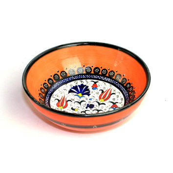 Kütahya Çini Türkiye - Turkish Traditional Style Handmade Painted Ceramic Bowl in Orange, Cobalt, Red and Yellow - Vintage Home Decor