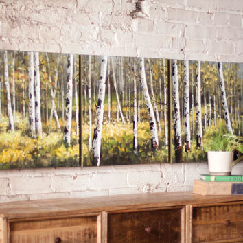 Oil Painting - Set of 3 Birch