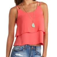 Reverse High-Low Layered Swing Tank Top by Charlotte Russe - Pink