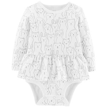 Baby Girl Carter's Peplum Animal Sketch Bodysuit