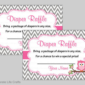 Diaper Raffle Tickets - Baby Shower Diaper Raffle Invitation Inserts - Baby Girl Shower - Gray Pink Grey Owl Baby Shower Theme - B2004